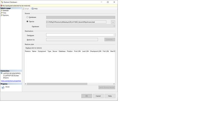 SQL Restore Error