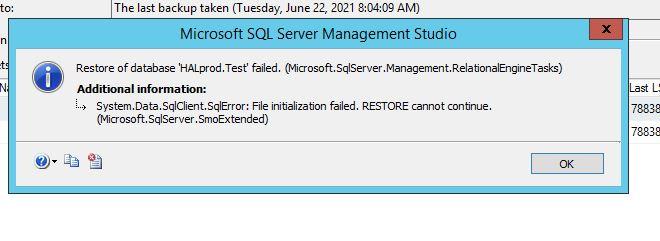 SQL Intialize File Error
